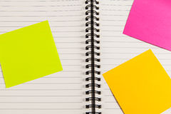 Blank note book  with post it. Blank note book  with colorful post it Stock Photography