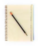 Blank Note Book with Red Pancil on Grunge Wood Stock Photos