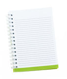 Blank note book with ring binder holes isolated on white Stock Photos