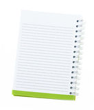 Blank note book with ring binder holes isolated on white. Royalty Free Stock Images