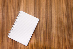 Blank note book on wood table concept and Idea for write your te Stock Photos