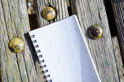 Blank Note Book on Wooden Background Stock Photography
