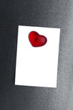 Blank note card clipped magnet heart Stock Photos