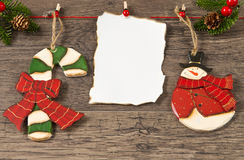 Blank note with christmas decoration Stock Photos