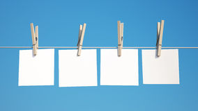 Blank Note on Clothespin with Clipping Path Royalty Free Stock Image