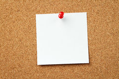 Blank note at the corkboard. Blank paper note at the cork board Stock Photos