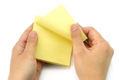Blank note in hand stock photo