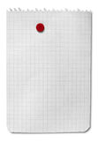 Blank note isolated with clipping path. Blank note pinned with red pin, empty squared paper sheet of notebook isolated - clipping path Stock Photography