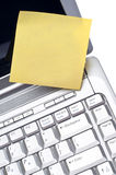 Blank Note on Laptop Computer Royalty Free Stock Photos