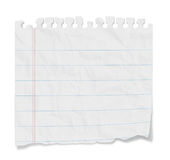 Blank Note - Lined Paper. Torn blank lined paper from a notepad with shadows. Isolated on a white background with clipping path Stock Image