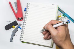 Blank note. For many words and many education supplies royalty free stock photos