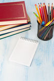 Blank Note Pad with colorful Pencils Royalty Free Stock Photos