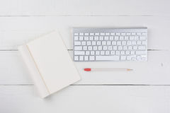 Blank Note Pad and Keyboard Stock Image