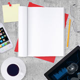 Blank note pad with office and business work Stock Photos