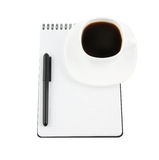 Blank note pad, pen, cup of coffee Stock Photos