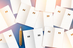 Blank note pad with pencil on blue background Royalty Free Stock Photos