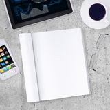 Blank note pad with tablet PC, smartphone, cup of Stock Photo