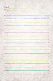 Blank note paper. Color-full  lined papers from note book Stock Photography