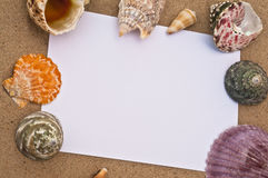 Blank note paper on a beach Stock Photography