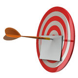 Blank note paper at the center of dart aim, 3d Stock Image