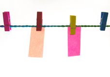 Blank note. Paper clip with bright colors with colored rope Stock Photography