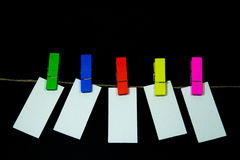 Blank note. Paper clip with bright colors with colored rope Royalty Free Stock Images