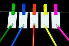 Blank note. Paper clip with bright colors with colored rope Stock Photo