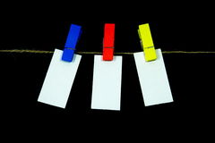 Blank note. Paper clip with bright colors with colored rope Royalty Free Stock Photo