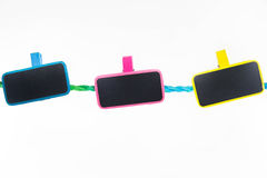 Blank note. Paper clip with bright colors with colored rope Royalty Free Stock Photography