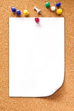 Blank note paper on cork board : Clipping path included Stock Photos