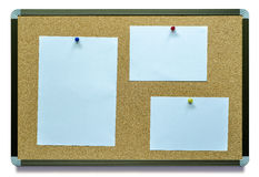 Blank note paper on cork board Stock Images