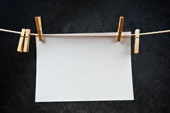 Blank note paper hanging on rope with clothes pins Royalty Free Stock Photography