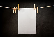 Blank note paper hanging on rope with clothes pins Royalty Free Stock Photo