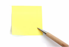 Blank note paper with pen Stock Images