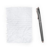 Blank note paper with pen. Stock Photo