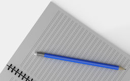 Blank note paper with pen.  on white. Stock Photo