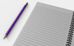 Blank note paper with pen.  on white. Royalty Free Stock Photos