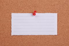 Blank Note Paper Pinned On Cork Stock Photos