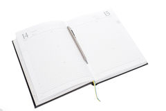 Blank note paper with ribbon and metal pen Stock Images