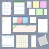 Blank Note Paper with Sticky Colorful Tape Set. Vector Royalty Free Stock Photo