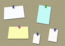 Blank note papers. On thumb tacks to board Royalty Free Stock Image