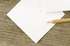 Blank note and pencil Royalty Free Stock Photo