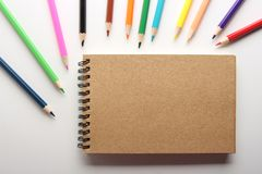 Blank Note With Pencils Stock Photos