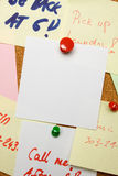 Blank note pinned on cork board Stock Photos