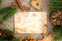 Blank note for recipes of Christmas cakes. With free text space Stock Photos