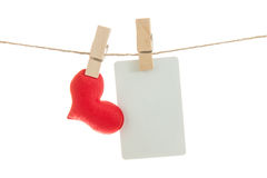 Blank note and red hearts hanging on rope , Stock Photos