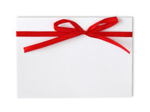 Blank note and red ribbon Stock Photography