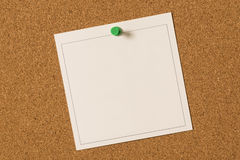 Blank Note Sheet Thumbtacked To Corkboard Background Royalty Free Stock Images