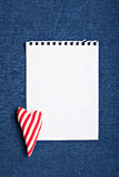 Blank note with stripes textile heart Stock Photography