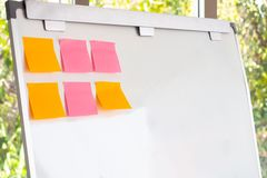 Blank note on the white board. stock image